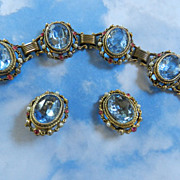 SALE Chase the Blues Away Vintage Trifari Huge Stone Bracelet and Earrings