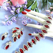 SALE Heart Throbbing Vintage Ruby Red Weiss Bracelet Earrings Brooch
