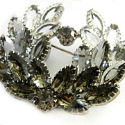SALE Vintage 1950's Big Tiered Smoke Colored Brooch