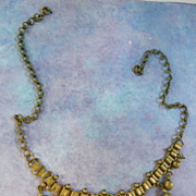 SALE Vintage Brass Victorian Revival bookchain Necklace Drippy Findings