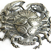 SALE Sterling Silver Cini Cancer the Crab Brooch Vintage