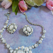SALE Gorgeous Givre White Vintage Regency Necklace Bracelet Earrings