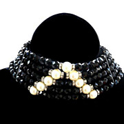 SALE Elegant Jet Black Faceted  Crystal Collar Vintage Necklace with Faux Pearls