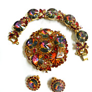 SALE Gorgeous Juliana Rivoli Vintage Brooch earrings Bracelet