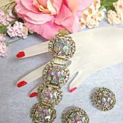SALE Judy Lee Art Glass Pastels Rhinestone Vintage Bracelet and Earrings