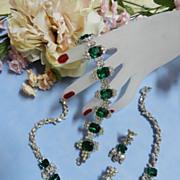 SALE Return to Elegance Encrusted Rhinestone Vintage Necklace bracelet earrings