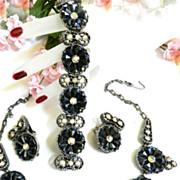 SALE Massive Vintage Hematite Ultimate Obsession Necklace Bracelet Earrings
