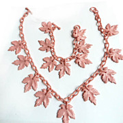 SALE Early 1900's Pink Celluloid Necklace and Bracelet Demi