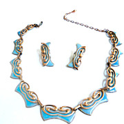 SALE Matisse Vintage Butterfly Copper and Robin Egg Blue Enamel Necklace and Earrings