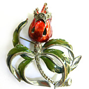 SALE Jaw Dropping Gorgeous Vintage Enamel Humongous Brooch