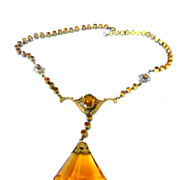 SALE Gorgeous Early 1900s Czech Topaz Huge Stone Necklace