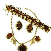 SALE High End Designer Big Topaz and Jonquil Vintage Necklace Bracelet Earrings