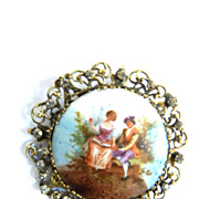 SALE Joseff of Hollywood 1930s Huge Porcelain Hand Painted Cameo Brooch