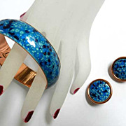 SALE Vintage Matisse Renoir Enamel and Copper Speckled Bracelet and Earrings