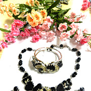 SALE magnificent Vintage Hobe Deco Style Black and Clear Necklace Bracelet and Earrings