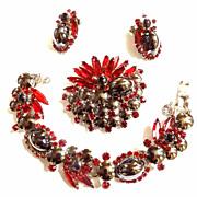 SALE Vintage Juliana Hematite Glass Cabochon Bracelet Earrings and Brooch