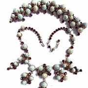 SALE Freedom of Expression High End Designer Faux Turquoise Matrix  Necklace Bracelet earrings