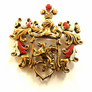 SALE Fabulous Mystical  Big Heavy Coat of Arms with Griffin Enamel 1930s