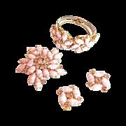 SALE Gorgeous Juliana Pink Striped Bracelet Earrings Brooch  Parure
