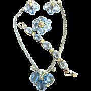SALE Chase the Blues Away Huge Glass Necklace Bracelet Brooch Bracelet 1950s