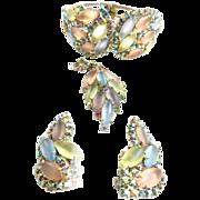 SALE Vintage 1950s Designer Art Glass Satin Stone Clamper and Earrings