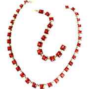 SALE Breathtaking Red Art Deco Style 1930s Necklace and Bracelet