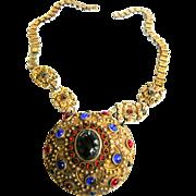 SALE Massive Victorian   Czech Jeweled Medallion Bookchain Necklace