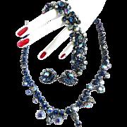 SALE Spectacular Vintage Claudette Necklace Bracelet Earrings  Montana Blue