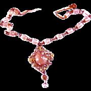 SALE Early 1900s Blush Pink/Rose Czech Glass Pendant Necklace
