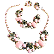 SALE Juliana PInk Cabochon Vintage Necklace Bracelet earrings
