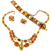 SALE Vintage Vendome Spectacular Rarely Found Citrine Necklace Bracelet Earrings