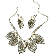 SALE Massive High End Designer 1940s Clear and Smoke Rhinestone Necklace and Earrings