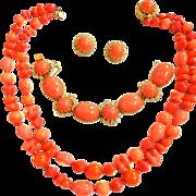 SALE Gorgeous Hattie Carnegie Vintage 50s Coral Glass Beads Necklace Bracelet Earrings