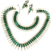 SALE Magnificent Kramer Emerald Green Rhinestone Necklace Bracelet Earrings Vintage
