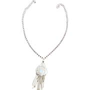 SALE Victorian Edwardian 1880s Silver  Tassel Medallion Necklace