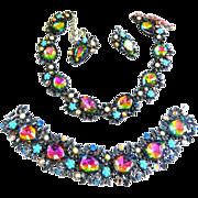 SALE Magnificent Watermelon 50s Designer Signed Necklace Bracelet Earrings