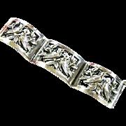 SALE Sterling Silver Mexican Love Bird Vintage Bracelet