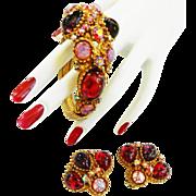 SALE High End Designer Dragon Breath Cabochon Rhinestone Bracelet and Earrings