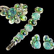 SALE Dressed to kill Mint Green and Watermelon 50s Brooch Bracelet Earrings