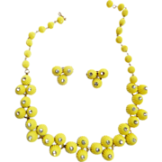 SALE Fun Loving Coro Yellow Celluloid daisy Necklace and Earrings