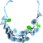 SALE Early 1900s Celluloid Cornflower Necklace Collar