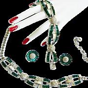SALE High End Runway 1940s Designer Emerald Glass Necklace Bracelet Earrings