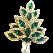 SALE Exquisite Dazzling Massive Emerald Rhinestone Xmas Tree Brooch