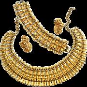 SALE Massive Egyptian Revival Bib Collar Earrings Bracelet 50s
