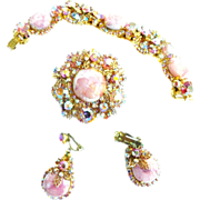 SALE Vintage Juliana Pink Marble Brooch Bracelet Earrings