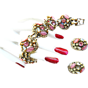 SALE Pretty in Pink Faux Pearl Opal Chunky Vintage Bracelet and Earrings