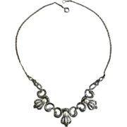 SALE Exquisite 1930s Marcasite and Pearl Art Deco Necklace