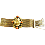 SALE Early 1900s Victorian  Revival  Mesh and Coral Slide Bracelet