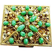 SALE Spectacular Jeweled Vintage 40s Compact