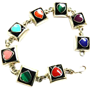 SALE Mexican Sterling 925 Hearts bracelet Lapis,Turquoise ,Malachite